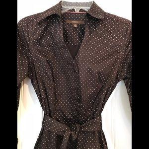 MERONA button down dress with belt tie. Sz. 4.